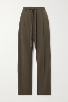 LE 17 SEPTEMBRE Belted Cady Straight-leg Pants - Army green