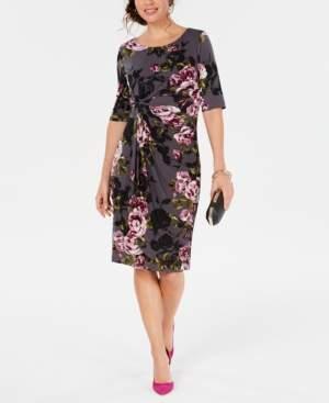 Connected Petite Floral-Print Sarong Dress