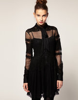 ASOS Pussybow Dress with Lace and Mesh Panneling