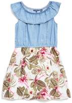 GUESS Cap-Sleeve Chambray and Floral Dress (7-16)