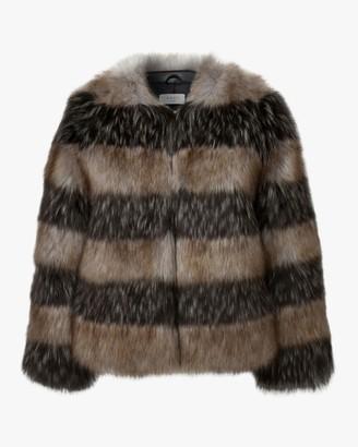 Marei 1998 Royal Lily Striped Faux Fur Coat