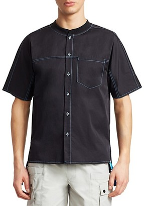 Madison Supply Baseball Collar Short-Sleeve Shirt