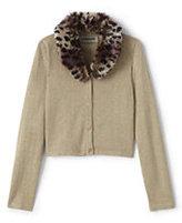 Lands' End Little Girls Fur Collar V-neck Sparkle Sophie Cardigan-Deep Scarlet Buffalo Check