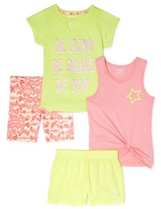 Marika Girls 7-12 Graphic Active T-Shirt, Tank Top, Bike and Mesh Shorts, 4-Piece Active Set