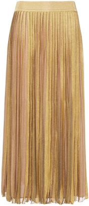 Alberta Ferretti Pleated Metallic Crochet-knit Midi Skirt