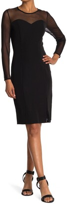 T Tahari 3/4 Sleeve Crew Neck Dress