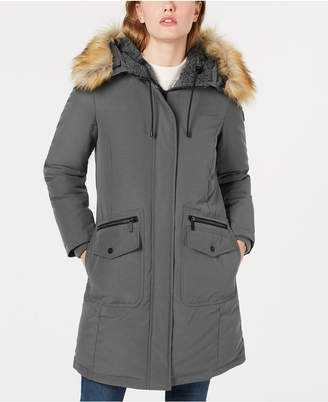 French Connection Hooded Faux-Fur-Trim Down Parka