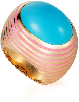 N. Grab Go - Turquoise and Pink Enamel Ready 2 Pleasure Ring - Yellow Gold