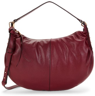 Vince Camuto Top-Zip Leather Hobo Bag