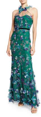Marchesa Printed Tulle Illusion Halter Gown with 3D Flower Degrade