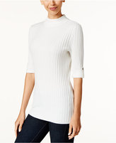 Style&Co. Style & Co. Petite Ribbed Mock-Neck Sweater, Only at Macy's