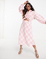 Thumbnail for your product : Lost Ink midaxi shirt dress with tie front in neon plaid