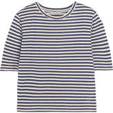 Vince Striped Silk-blend Jersey T-shirt - Navy