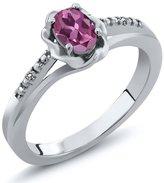 Gem Stone King 0.51 Ct Oval Pink Tourmaline White Diamond 18K White Gold Ring