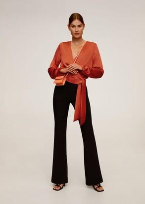 MANGO Wrap V-neckline blouse coral red - 2 - Women