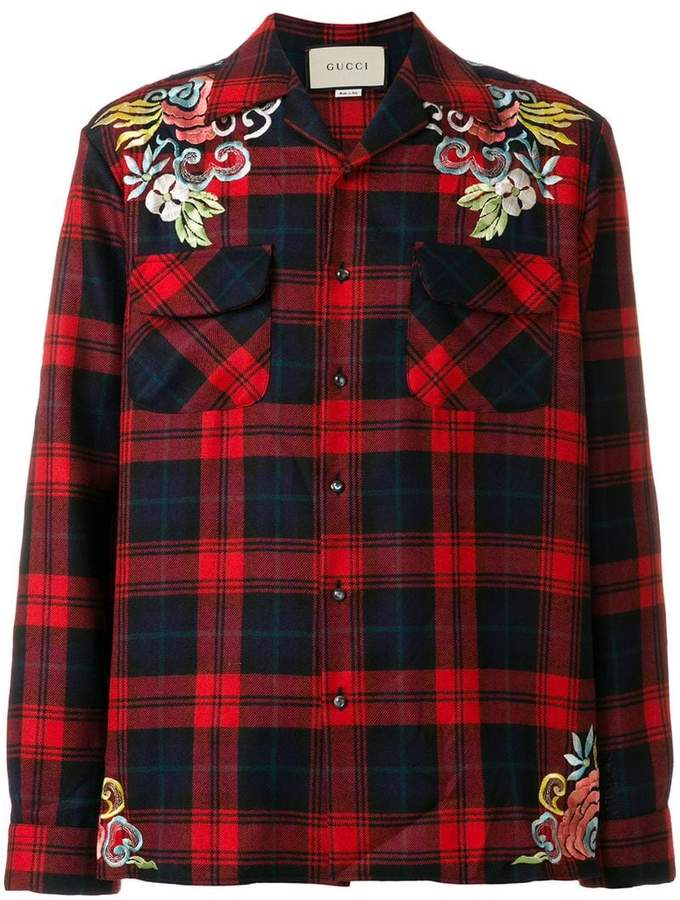 Gucci embroidered wool shirt