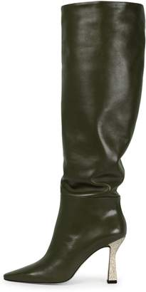 Wandler Lina Long Boot in Olive/Sparkle Gold