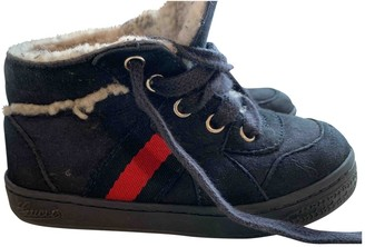 Gucci Navy Suede Lace up boots