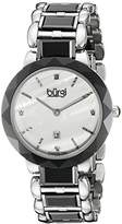 Burgi Women's BUR147BK Silver and Black Quartz Watch With Diamond Mother of Pearl Dial And Black and Silver Ceramic Bracelet