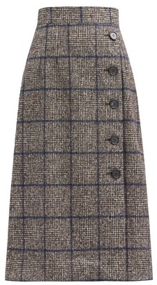 Dolce & Gabbana Prince Of Wales-check High-rise Side-button Skirt - Blue Multi