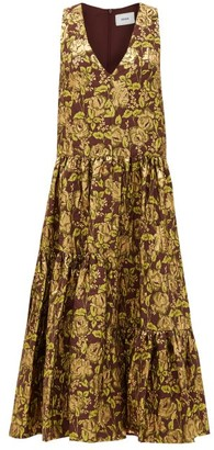 Erdem Mimosa Tiered Floral-jacquard Dress - Burgundy Gold