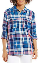 Vince Camuto Two by Point Collar Long Sleeve Indigo Plaid Relaxed Utility Shirt