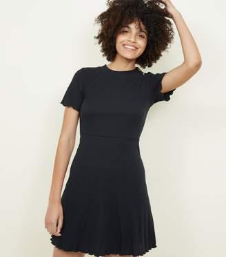 New Look Ribbed Button Shoulder Skater Dress