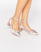 Carvela Grand Embellished Velvet Ankle Strap Point Mid Heeled Shoes