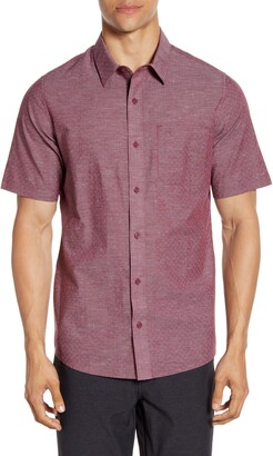 Travis Mathew Oswego Regular Fit Geo Print Short Sleeve Button-Up Sport Shirt