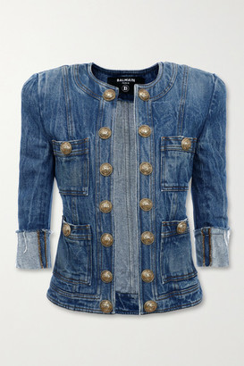 Balmain Button-embellished Denim Jacket - Mid denim