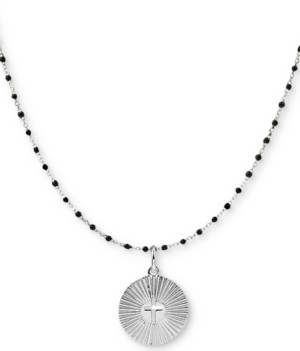 "Argentovivo Beaded Cross Circle 18"" Pendant Necklace in Sterling Silver"