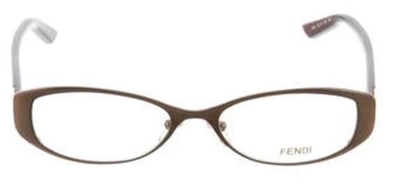 Fendi Oval Zucchino Eyeglasses Metallic Oval Zucchino Eyeglasses