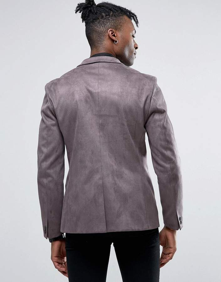 Religion Skinny Blazer in Velvet with Contrast Lapel