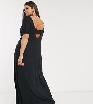 Vero Moda Curve jersey maxi dress with open back in black
