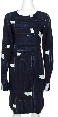 Max Mara Navy Blue Abstract Printed Crepe Shift Dress M