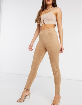 NA-KD faux suede high waisted skinny pants in beige