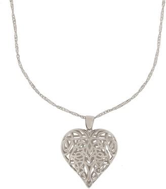 """Italian Silver Sterling Open-Heart Pendant w/ 24"""" Chain"""