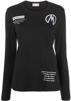 Moncler Long Sleeve Logo-Print Top
