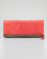 Cynthia Vincent Banker's Oversize Fold-Over Clutch Bag, Pink