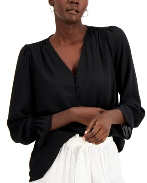 Alfani Plus Size Solid Button-Down Top, Created For Macy's
