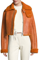 Yeezy Cropped Shearling Bomber Jacket, Rust