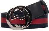 Gucci Men's 411924h917n8497 Blue/Red Polyamide Belt