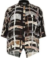 River Island Womens Plus brown print shirt