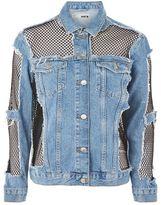 Petite fishnet oversized denim jacket