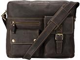 Visconti Brown Buckle-Pocket Leather Messenger Bag