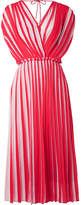 Tome Wrap-effect Pleated Striped Georgette Midi Dress - Red