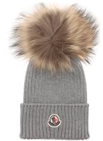Moncler Wool Rib Knit Hat W/ Fur Pompom