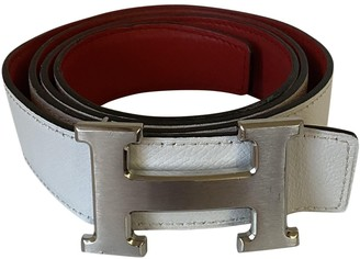 Hermes H White Leather Belts