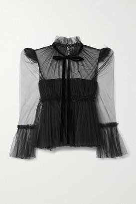 KHAITE Dominika Velvet-trimmed Pleated Tulle Blouse - Black