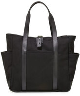 Shinola Leather-Trim Canvas Utility Tote Bag, Black